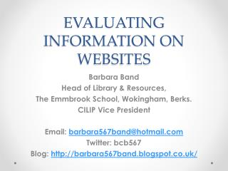 EVALUATING INFORMATION ON WEBSITES