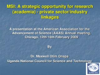 MSI: A strategic opportunity for research academia - private sector
