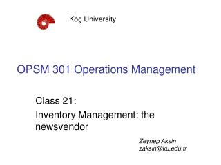 OPSM 301 Operations Management
