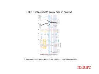 D Verschuren et al.  Nature 462 , 637-641 (2009) doi:10.1038/nature08520