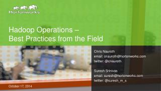 Hadoop  Operations – Best Practices from the Field
