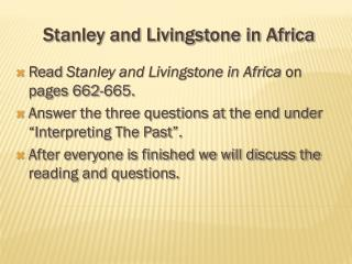 Stanley and Livingstone in Africa