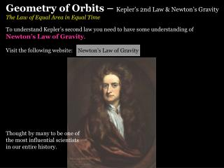 Geometry of Orbits –  Kepler's 2nd Law & Newton's Gravity The Law of Equal Area in Equal Time