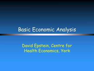Basic Economic Analysis