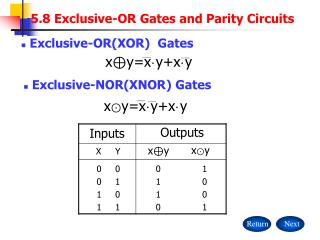 5.8 Exclusive-OR Gates and Parity Circuits
