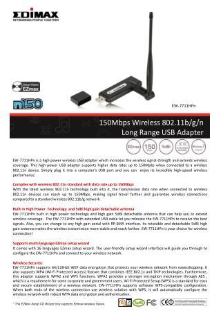 150Mbps Wireless 802.11b/g/n  Long Range USB Adapter