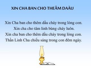 XIN CHA BAN CHO THEÂM DAÀU