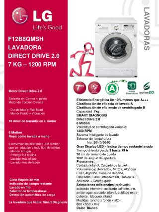 F12B8QMSH LAVADORA DIRECT DRIVE 2.0 7 KG – 1200 RPM