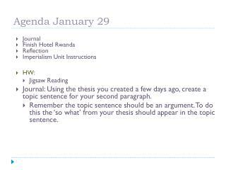 Agenda January 29