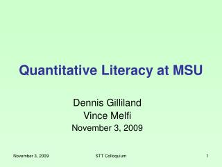 Quantitative Literacy at MSU