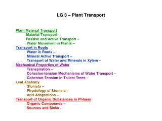 LG 3 – Plant Transport