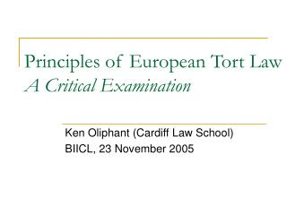 Principles of European Tort Law A Critical Examination