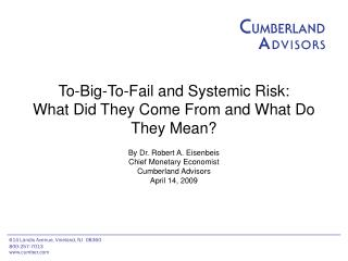 To-Big-To-Fail and Systemic Risk: What Did They Come From and What Do They Mean?