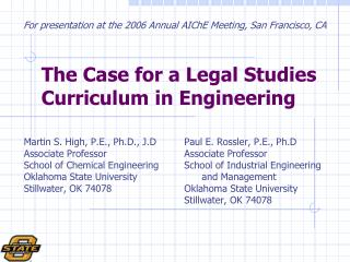The Case for a Legal Studies Curriculum in Engineering
