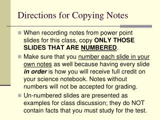 Directions for Copying Notes
