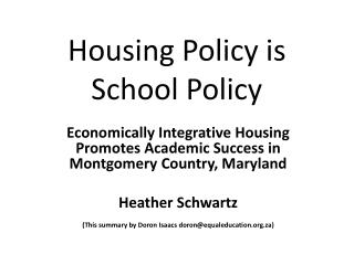 Housing Policy is School Policy