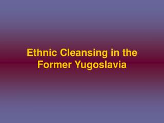 Ethnic Cleansing in the Former Yugoslavia