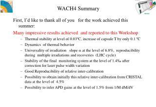 WACH4 Summary