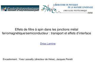 Encadrement : Yves Lassailly (directeur de thèse), Jacques Peretti