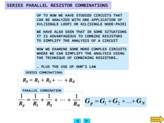 SERIES PARALLEL RESISTOR COMBINATIONS
