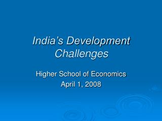 India's Development Challenges