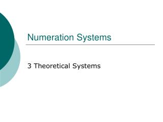 Numeration Systems