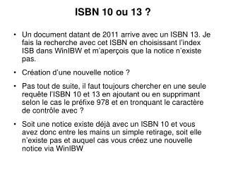 ISBN 10 ou 13 ?