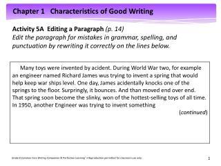 Activity 5A  Editing a Paragraph  (p. 14)