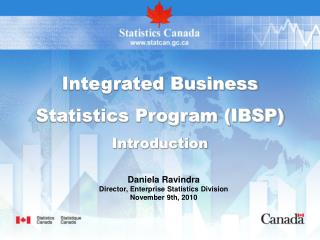 Integrated Business  Statistics Program IBSP Introduction