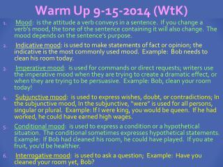 Warm Up 9-15-2014 ( WtK )