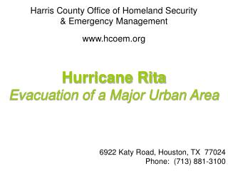 Harris County Office of Homeland Security  & Emergency Management hcoem