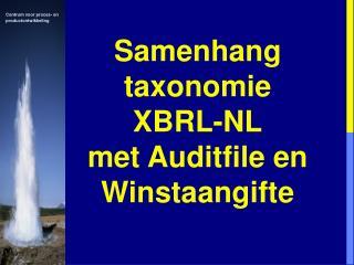 Samenhang taxonomie XBRL-NL met Auditfile en Winstaangifte