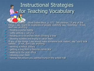 Instructional Strategies for Teaching Vocabulary