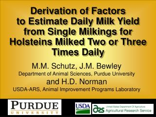 Derivation of Factors  to Estimate Daily Milk Yield
