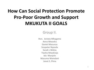 How Can Social Protection Promote Pro-Poor Growth and Support  MKUKUTA  II GOALS