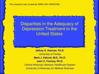 Disparities in the Adequacy of Depression Treatment in the United States