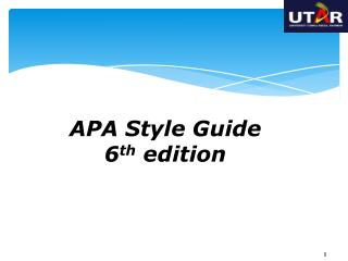 APA Style Guide 6 th  edition