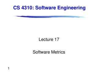 Lecture 17 Software Metrics