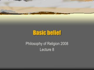 Basic belief