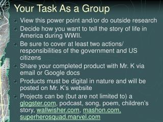 Your Task As a Group