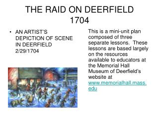 THE RAID ON DEERFIELD 1704