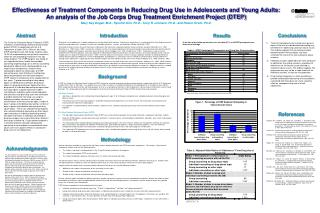 Effectiveness of Treatment Components in Reducing Drug Use in Adolescents and Young Adults:  An analysis of the Job Corp