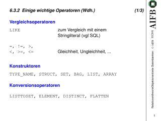 6.3.2  Einige wichtige Operatoren (Wdh.)(1/3)