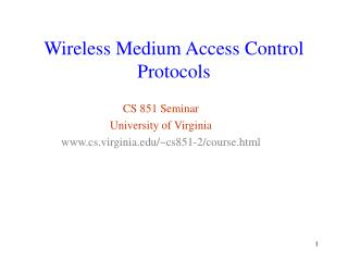 Wireless Medium Access Control Protocols