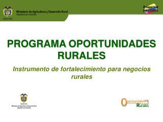 PROGRAMA  OPORTUNIDADES RURALES Instrumento de fortalecimiento para negocios rurales