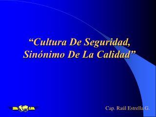 """""""Cultura De Seguridad, Sinónimo De La Calidad"""""""