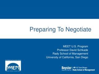 Preparing To Negotiate