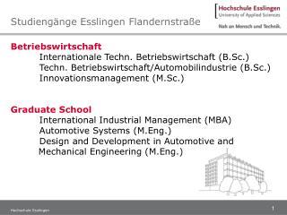 Betriebswirtschaft Internationale Techn. Betriebswirtschaft (B.Sc.)