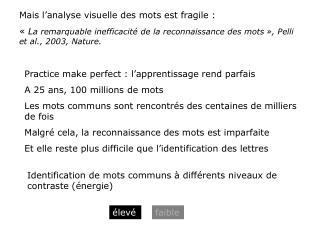 Mais l'analyse visuelle des mots est fragile :