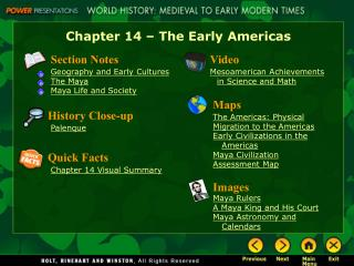 Chapter 14 � The Early Americas
